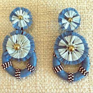 Anthropologie blue raffia statement earrings